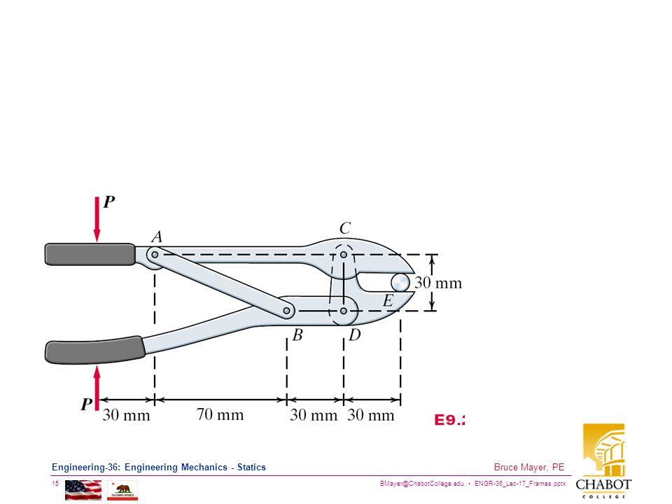 BMayer@ChabotCollege.edu ENGR-36_Lec-17_Frames.pptx 15 Bruce Mayer, PE Engineering-36: Engineering Mechanics - Statics
