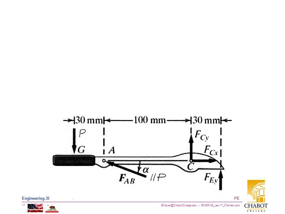 BMayer@ChabotCollege.edu ENGR-36_Lec-17_Frames.pptx 17 Bruce Mayer, PE Engineering-36: Engineering Mechanics - Statics
