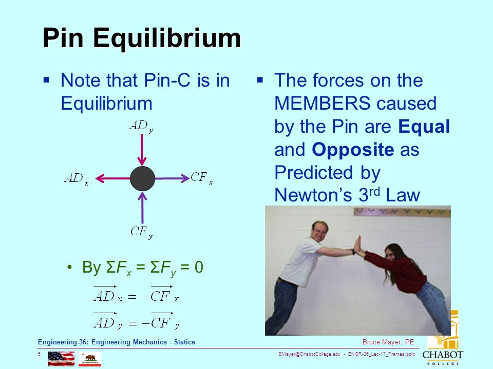 BMayer@ChabotCollege.edu ENGR-36_Lec-17_Frames.pptx 5 Bruce Mayer, PE Engineering-36: Engineering Mechanics - Statics Pin Equilibrium  Note that Pin-C is in Equilibrium By ΣF x = ΣF y = 0  The forces on the MEMBERS caused by the Pin are Equal and Opposite as Predicted by Newton's 3 rd Law