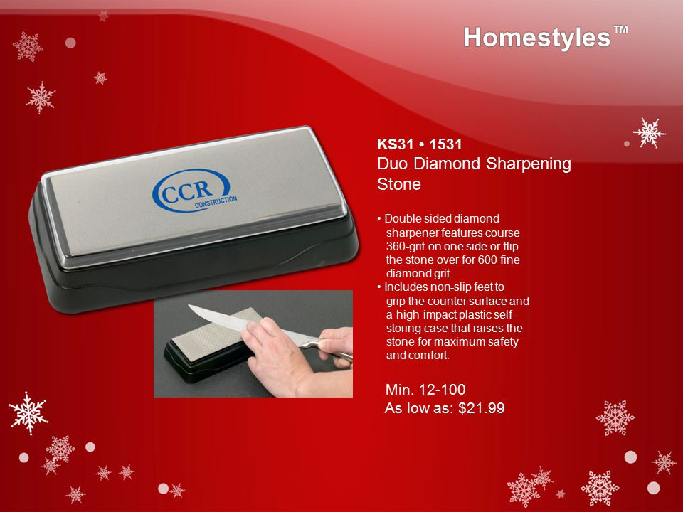 KS31 1531 Duo Diamond Sharpening Stone Double sided diamond sharpener features course 360-grit on one side or flip the stone over for 600 fine diamond grit.