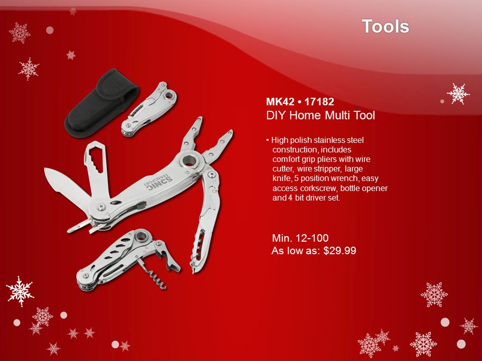 MK42 17182 DIY Home Multi Tool High polish stainless steel construction, includes comfort grip pliers with wire cutter, wire stripper, large knife, 5 position wrench, easy access corkscrew, bottle opener and 4 bit driver set.