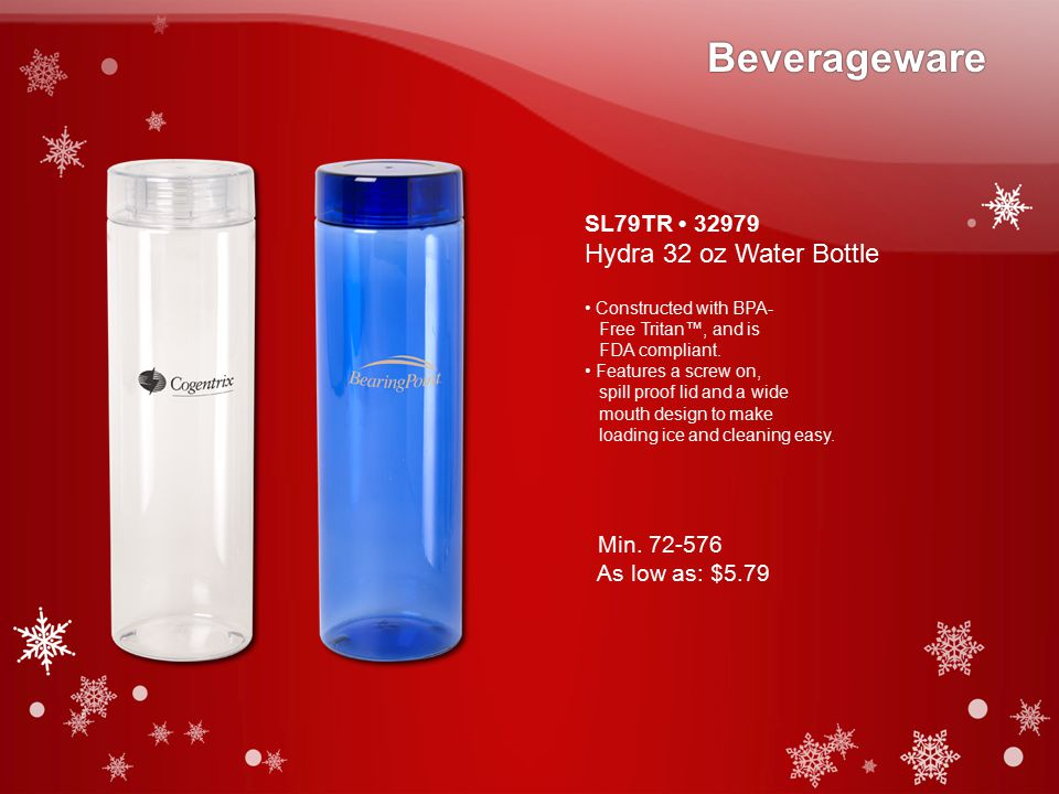 SL79TR 32979 Hydra 32 oz Water Bottle Constructed with BPA- Free Tritan™, and is FDA compliant.
