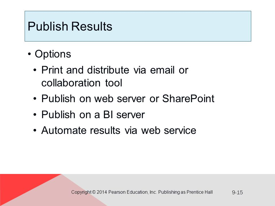 9-15 Publish Results Options Print and distribute via email or collaboration tool Publish on web server or SharePoint Publish on a BI server Automate