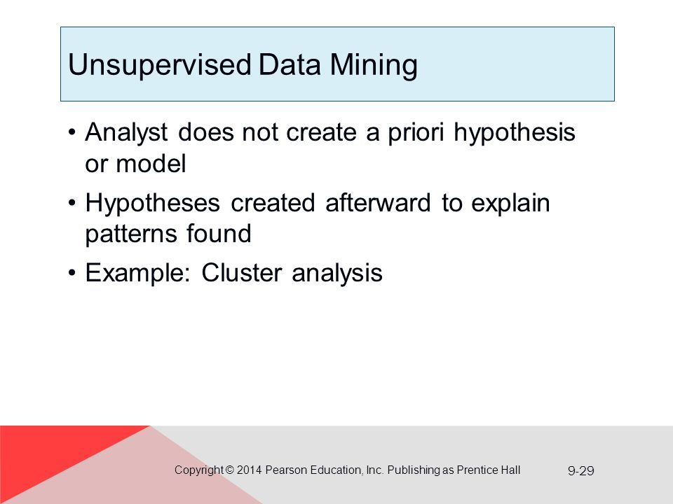 9-29 Unsupervised Data Mining Analyst does not create a priori hypothesis or model Hypotheses created afterward to explain patterns found Example: Clu