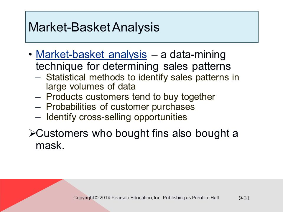 9-31 Market-Basket Analysis Market-basket analysis – a data-mining technique for determining sales patternsMarket-basket analysis –Statistical methods