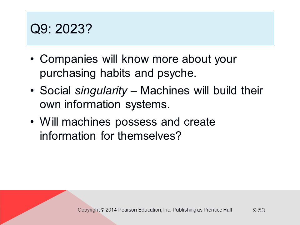 9-53 Q9: 2023? Companies will know more about your purchasing habits and psyche. Social singularity – Machines will build their own information system