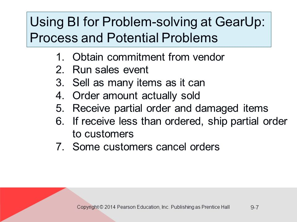 9-7 Using BI for Problem-solving at GearUp: Process and Potential Problems Copyright © 2014 Pearson Education, Inc. Publishing as Prentice Hall 1.Obta