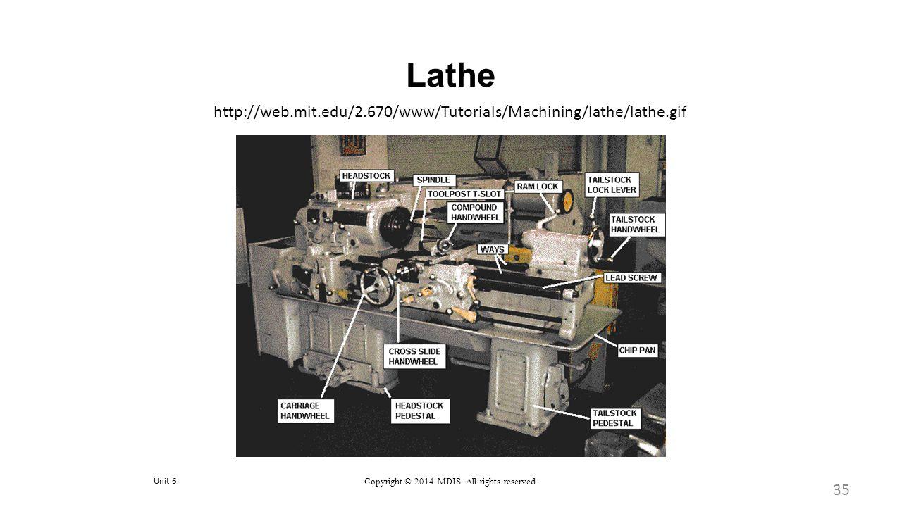 Unit 6 Copyright © 2014. MDIS. All rights reserved. Lathe 35 http://web.mit.edu/2.670/www/Tutorials/Machining/lathe/lathe.gif
