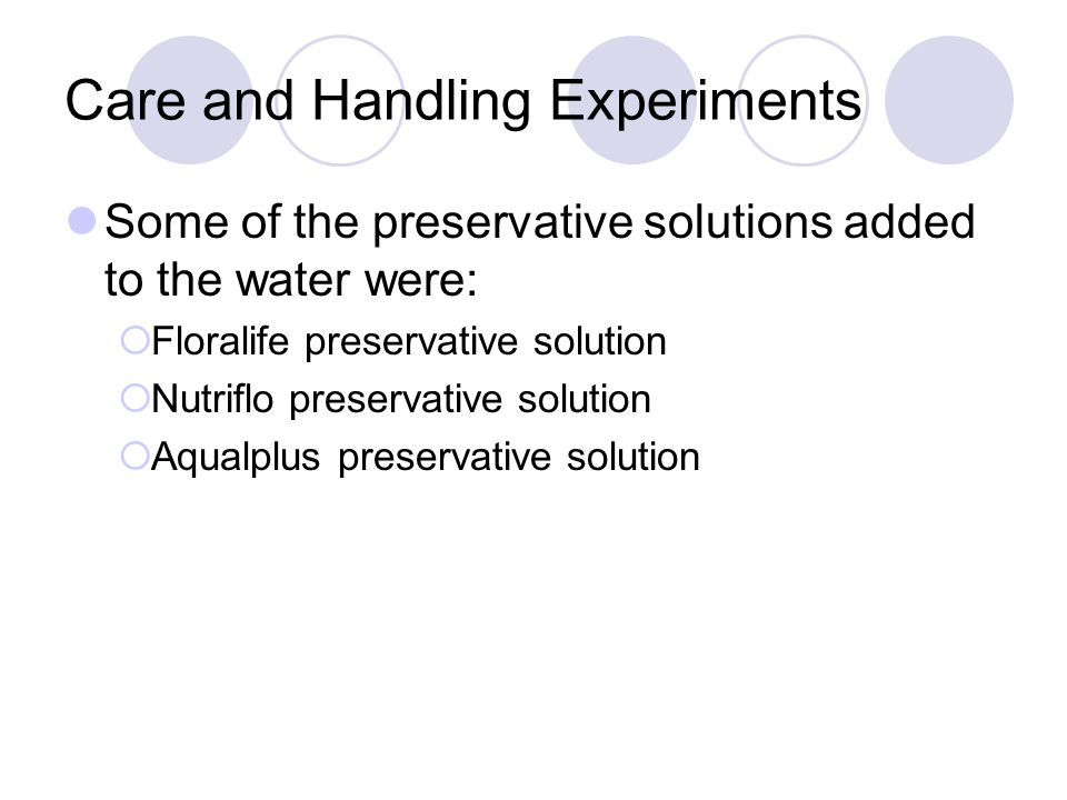 Care and Handling Experiments Some of the preservative solutions added to the water were:  Floralife preservative solution  Nutriflo preservative solution  Aqualplus preservative solution