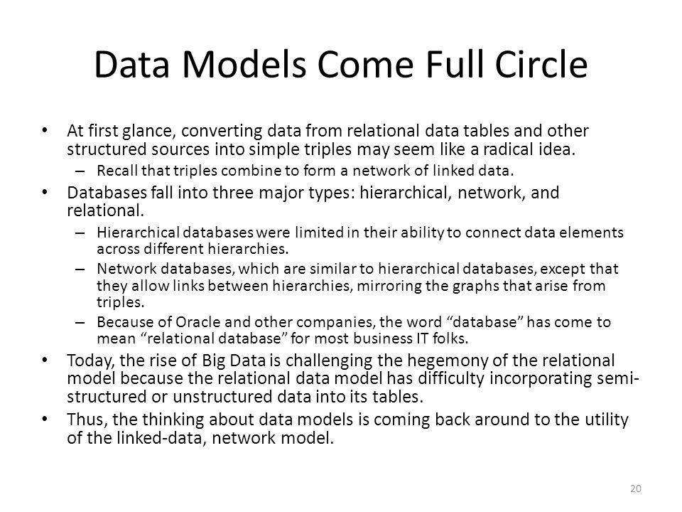 Data Models Come Full Circle At first glance, converting data from relational data tables and other structured sources into simple triples may seem li