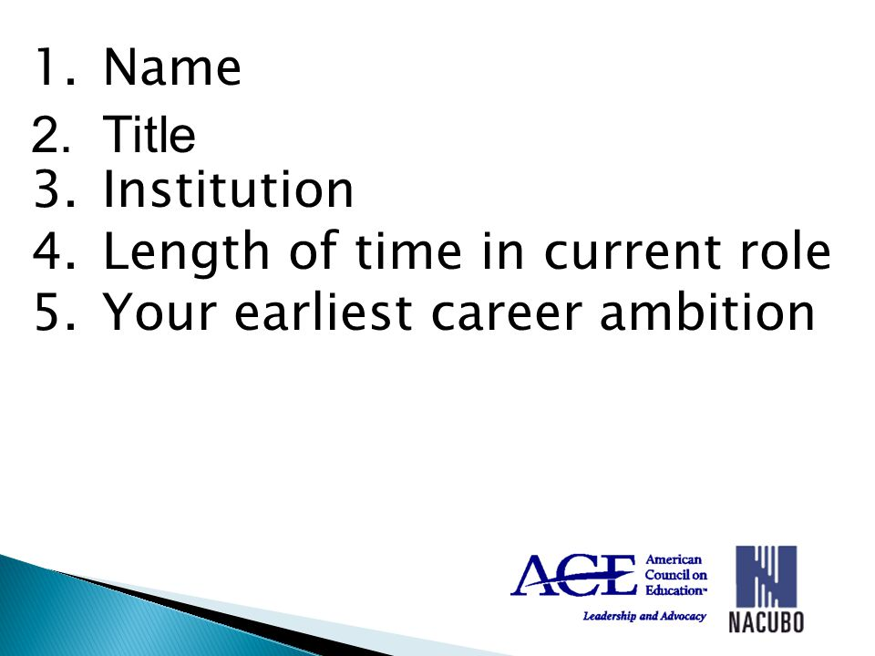 1.Name 2.Title 3.Institution 4.Length of time in current role 5.Your earliest career ambition