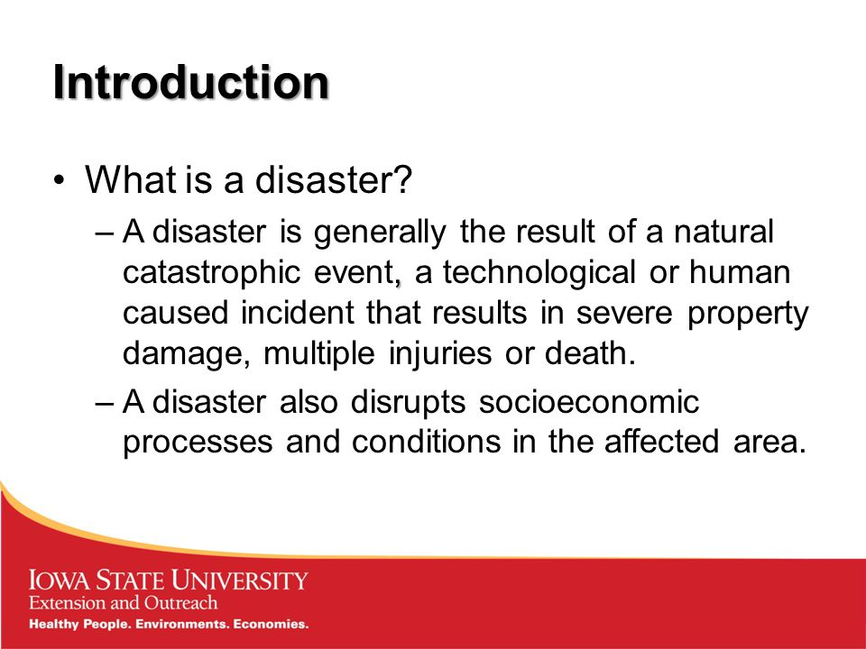 Overview Introduction to disasters Vulnerability and resilience Why asset mapping.