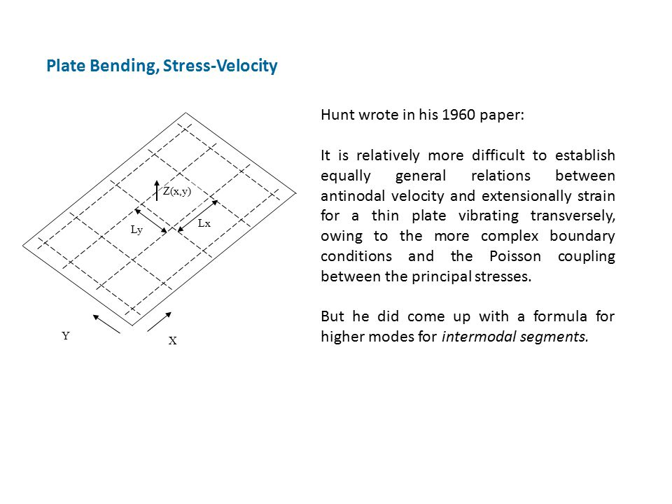 Plate Bending, Stress-Velocity Hunt wrote in his 1960 paper: It is relatively more difficult to establish equally general relations between antinodal velocity and extensionally strain for a thin plate vibrating transversely, owing to the more complex boundary conditions and the Poisson coupling between the principal stresses.