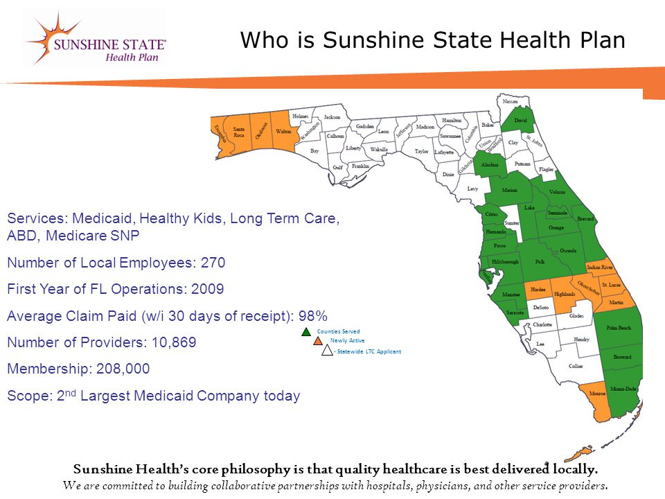 Who is Sunshine State Health Plan LTC C ounties S erved Counties Served Newly Active Services: Medicaid, Healthy Kids, Long Term Care, ABD, Medicare SNP Number of Local Employees: 270 First Year of FL Operations: 2009 Average Claim Paid (w/i 30 days of receipt): 98% Number of Providers: 10,869 Membership: 208,000 Scope: 2 nd Largest Medicaid Company today - Statewide LTC Applicant Sunshine Health's core philosophy is that quality healthcare is best delivered locally.