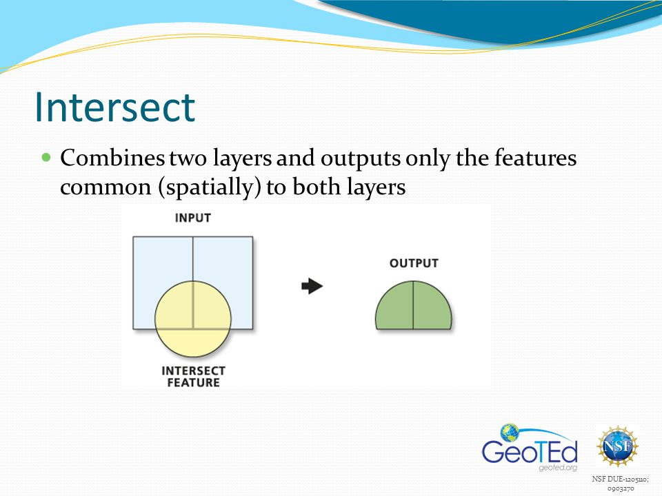 NSF DUE-1205110; 0903270 Intersect Combines two layers and outputs only the features common (spatially) to both layers