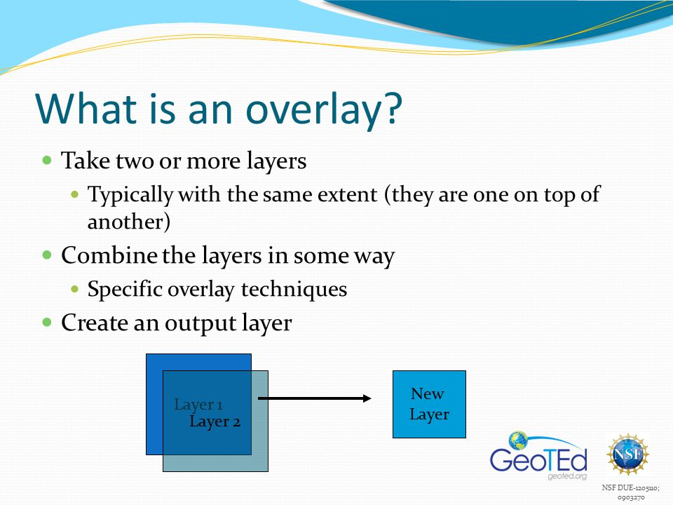 NSF DUE-1205110; 0903270 What is an overlay.