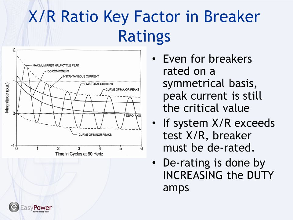 X/R Ratio Key Factor in Breaker Ratings Determines peak ½ cycle current Determines magnitude of interrupting current Even for breakers rated on a symm