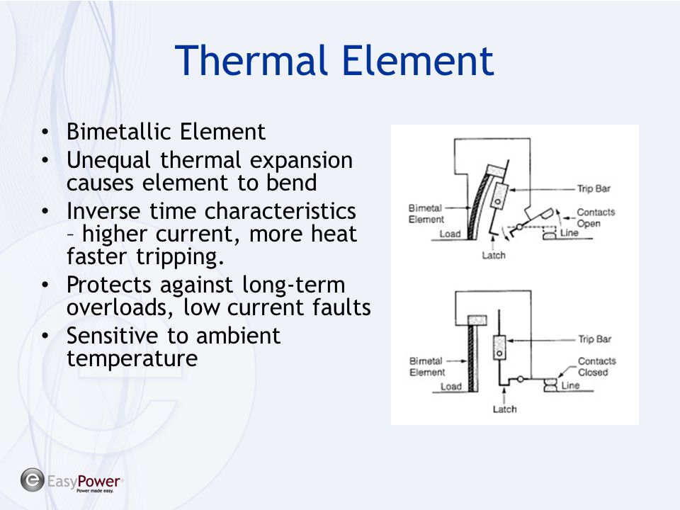 Thermal Element Bimetallic Element Unequal thermal expansion causes element to bend Inverse time characteristics – higher current, more heat faster tr