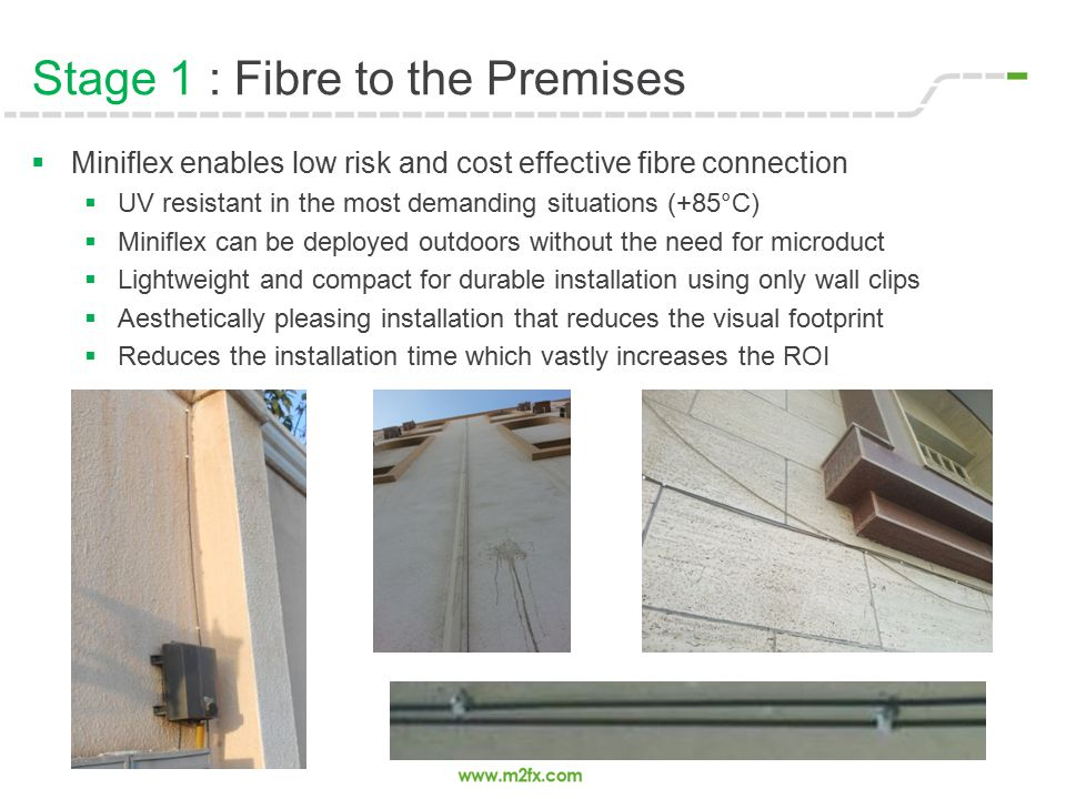 Stage 1 : Fibre to the Premises  Miniflex enables low risk and cost effective fibre connection  UV resistant in the most demanding situations (+85°C