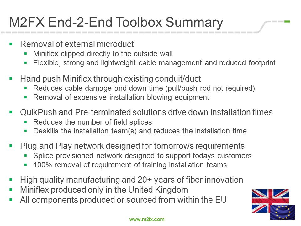 M2FX End-2-End Toolbox Summary  Removal of external microduct  Miniflex clipped directly to the outside wall  Flexible, strong and lightweight cabl