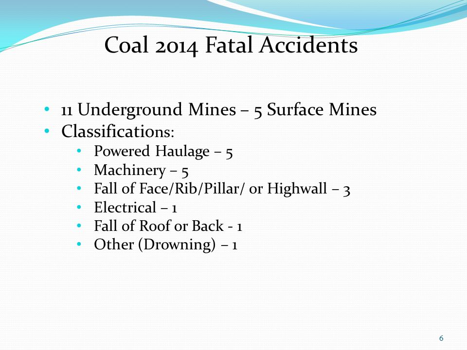 6 Coal 2014 Fatal Accidents 11 Underground Mines – 5 Surface Mines Classificatio ns: Powered Haulage – 5 Machinery – 5 Fall of Face/Rib/Pillar/ or Highwall – 3 Electrical – 1 Fall of Roof or Back - 1 Other (Drowning) – 1