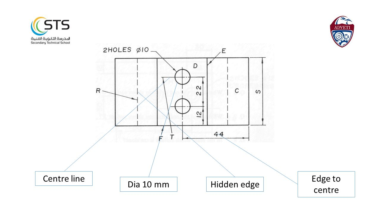 Edge to centre Hidden edgeDia 10 mm Centre line