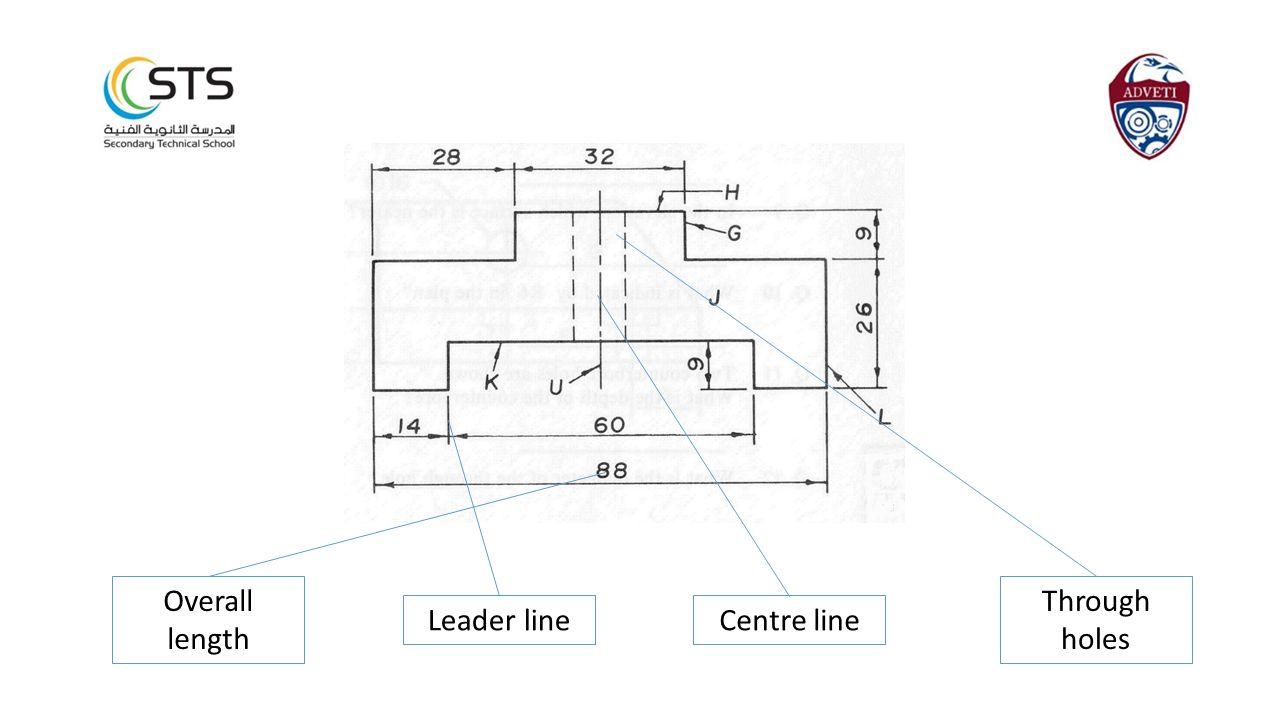 Through holes Centre lineLeader line Overall length