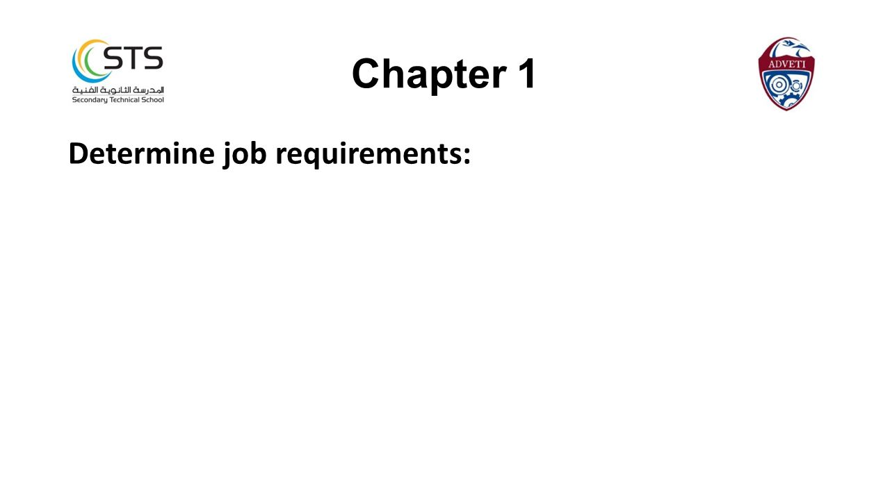 Chapter 1 Determine job requirements: