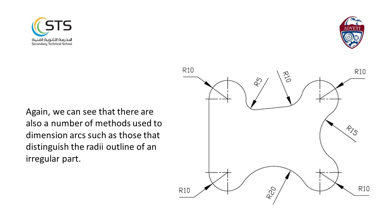 Again, we can see that there are also a number of methods used to dimension arcs such as those that distinguish the radii outline of an irregular part.
