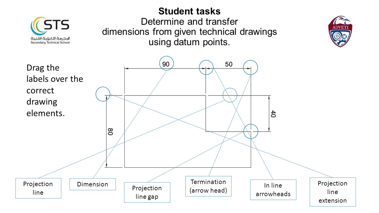 Drag the labels over the correct drawing elements. Student tasks Determine and transfer dimensions from given technical drawings using datum points. P