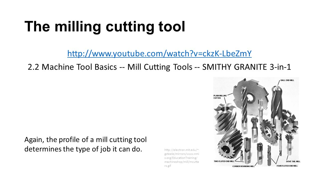 The milling cutting tool http://www.youtube.com/watch?v=ckzK-LbeZmY 2.2 Machine Tool Basics -- Mill Cutting Tools -- SMITHY GRANITE 3-in-1 Again, the profile of a mill cutting tool determines the type of job it can do.