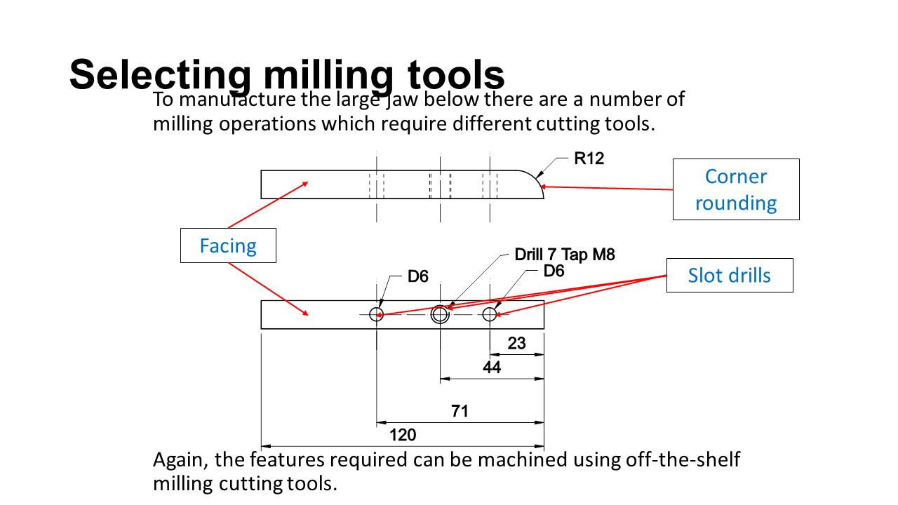 To manufacture the large jaw below there are a number of milling operations which require different cutting tools.