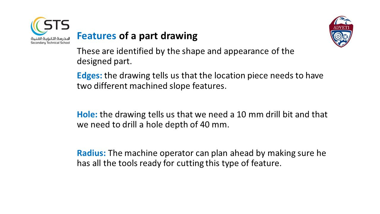 Features of a part drawing These are identified by the shape and appearance of the designed part.
