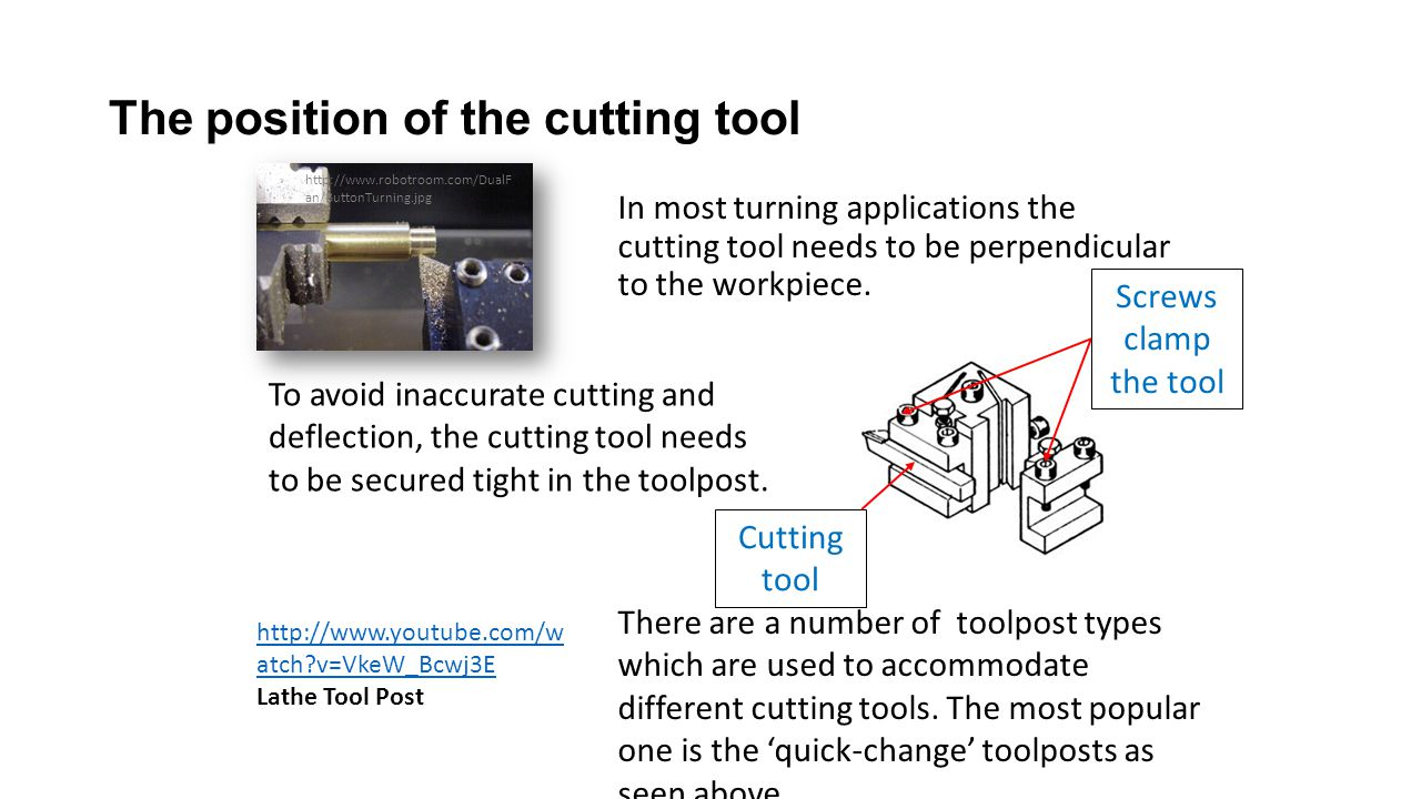 The position of the cutting tool In most turning applications the cutting tool needs to be perpendicular to the workpiece. There are a number of toolp