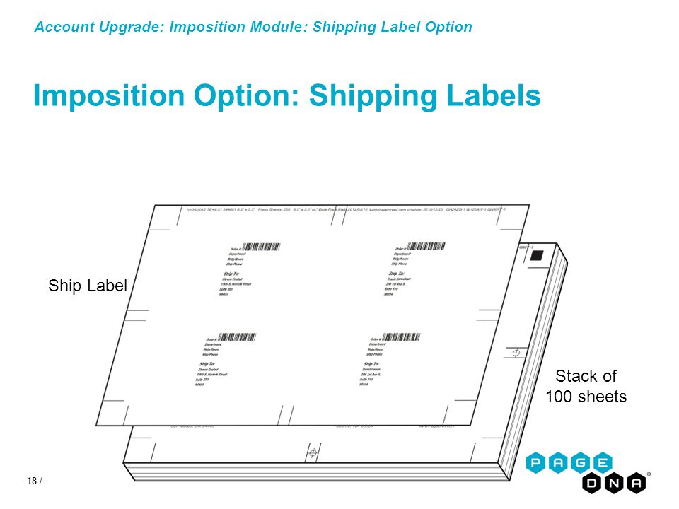 18 / Account Upgrade: Imposition Module: Shipping Label Option Imposition Option: Shipping Labels Stack of 100 sheets Ship Label