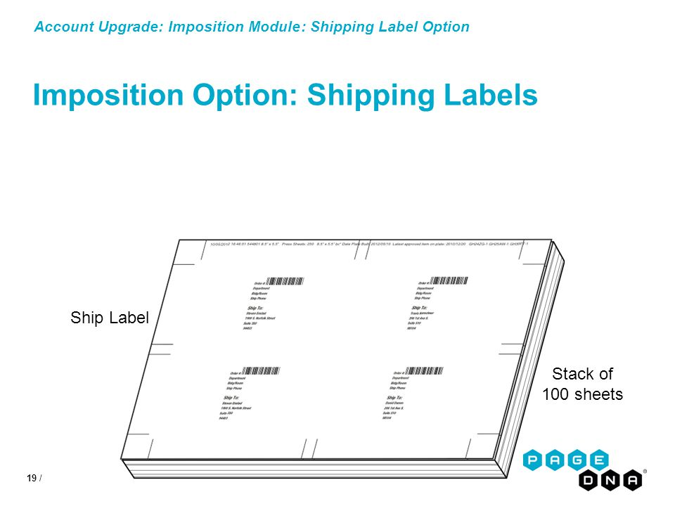 19 / Account Upgrade: Imposition Module: Shipping Label Option Imposition Option: Shipping Labels Stack of 100 sheets Ship Label