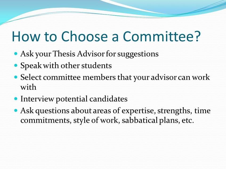 How to Choose a Committee.