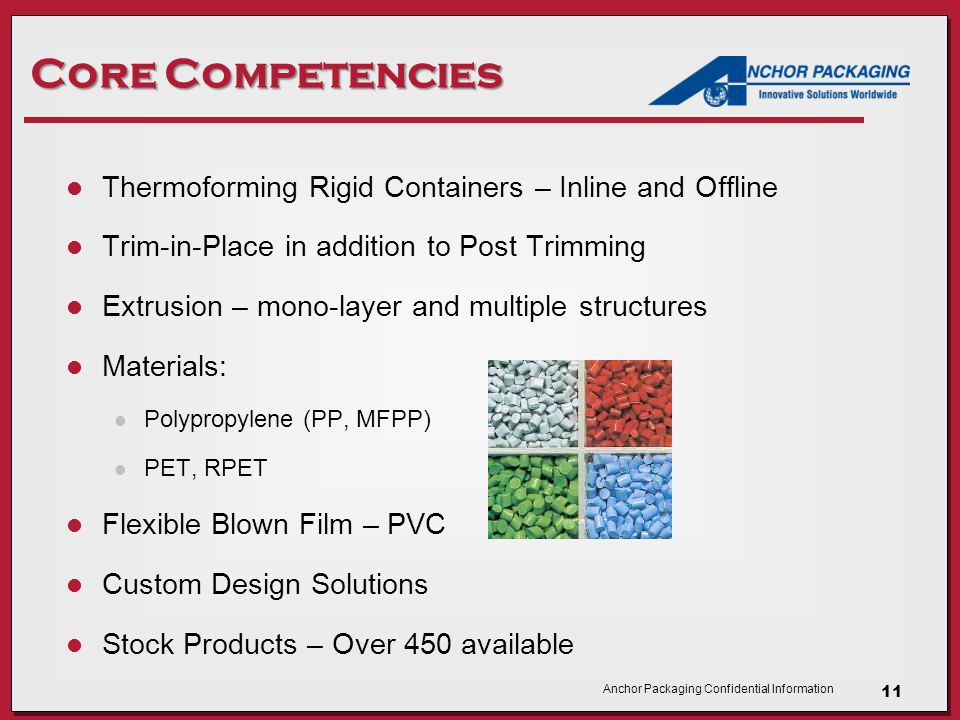 Anchor Packaging Confidential Information Core Competencies Thermoforming Rigid Containers – Inline and Offline Trim-in-Place in addition to Post Trimming Extrusion – mono-layer and multiple structures Materials: Polypropylene (PP, MFPP) PET, RPET Flexible Blown Film – PVC Custom Design Solutions Stock Products – Over 450 available 11