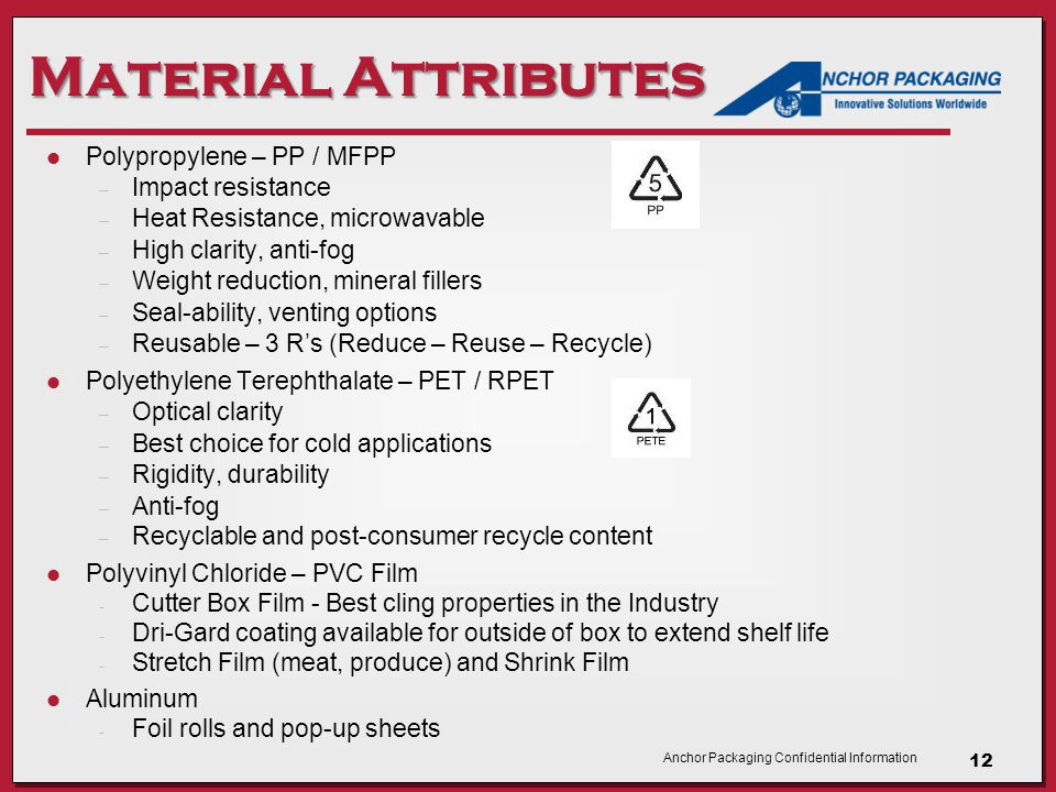Anchor Packaging Confidential Information Material Attributes Polypropylene – PP / MFPP – Impact resistance – Heat Resistance, microwavable – High clarity, anti-fog – Weight reduction, mineral fillers – Seal-ability, venting options – Reusable – 3 R's (Reduce – Reuse – Recycle) Polyethylene Terephthalate – PET / RPET – Optical clarity – Best choice for cold applications – Rigidity, durability – Anti-fog – Recyclable and post-consumer recycle content Polyvinyl Chloride – PVC Film - Cutter Box Film - Best cling properties in the Industry - Dri-Gard coating available for outside of box to extend shelf life - Stretch Film (meat, produce) and Shrink Film Aluminum - Foil rolls and pop-up sheets 12