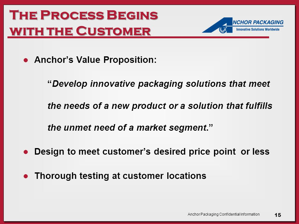 Anchor Packaging Confidential Information The Process Begins with the Customer Anchor's Value Proposition: Develop innovative packaging solutions that meet the needs of a new product or a solution that fulfills the unmet need of a market segment. Design to meet customer's desired price point or less Thorough testing at customer locations 15