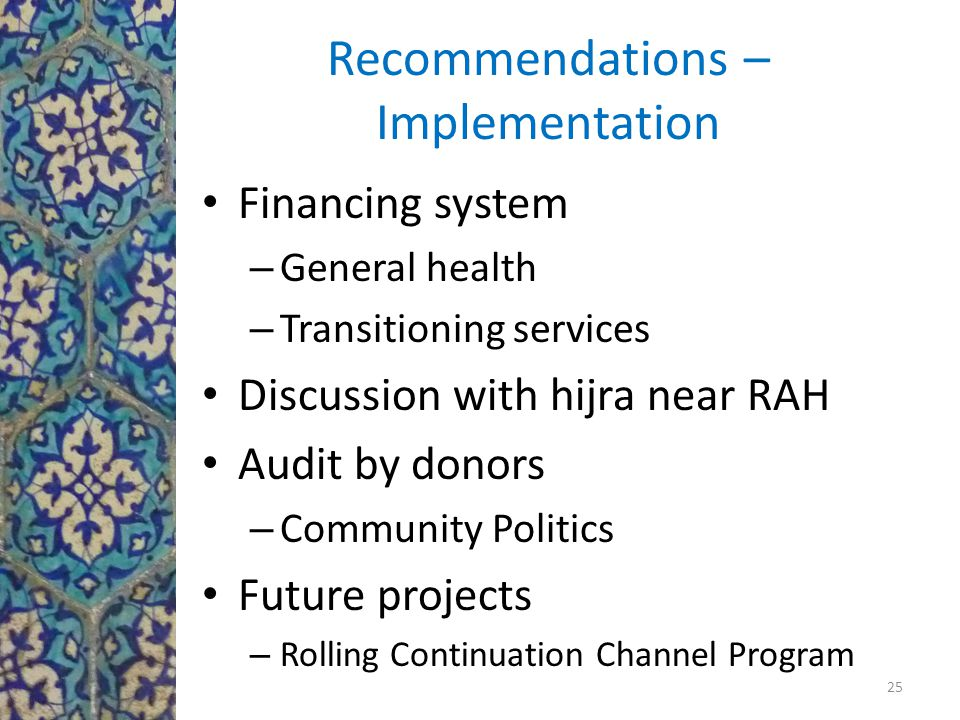 Recommendations – Implementation Financing system – General health – Transitioning services Discussion with hijra near RAH Audit by donors – Community Politics Future projects – Rolling Continuation Channel Program 25