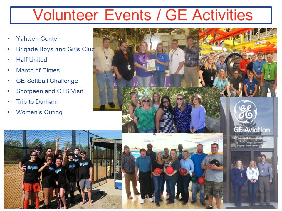 Volunteer Events / GE Activities Yahweh Center Brigade Boys and Girls Club Half United March of Dimes GE Softball Challenge Shotpeen and CTS Visit Trip to Durham Women's Outing