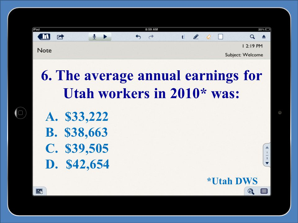 6. The average annual earnings for Utah workers in 2010* was: A.