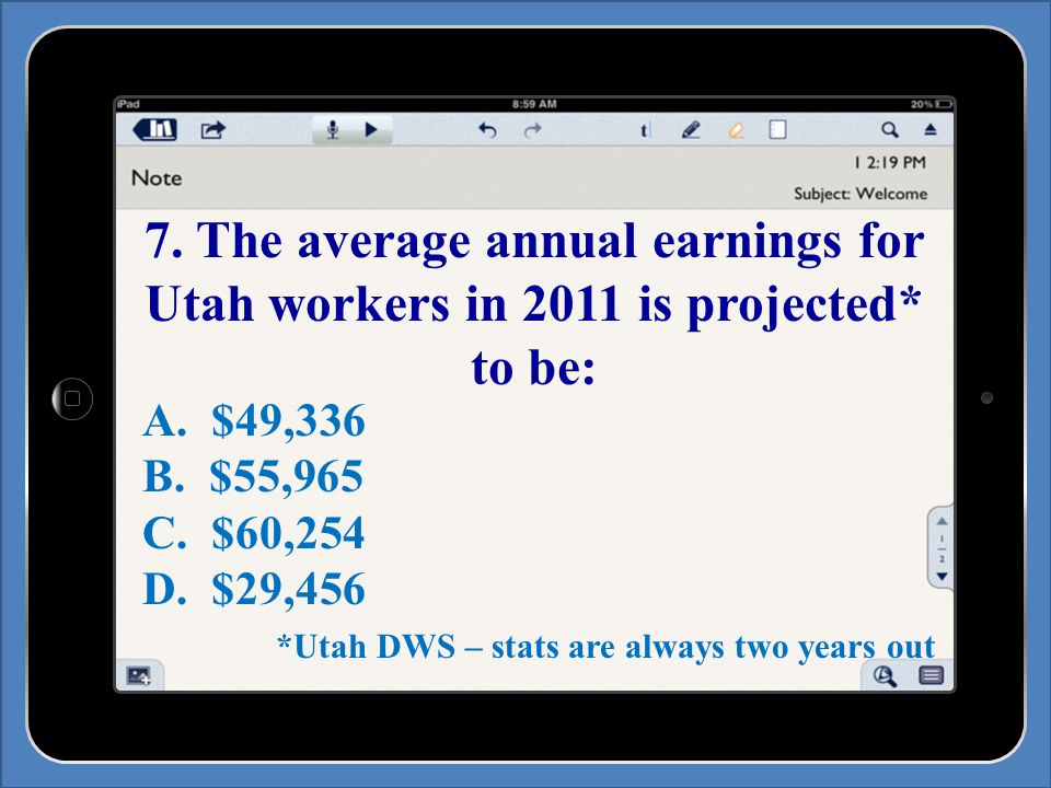 7. The average annual earnings for Utah workers in 2011 is projected* to be: A.