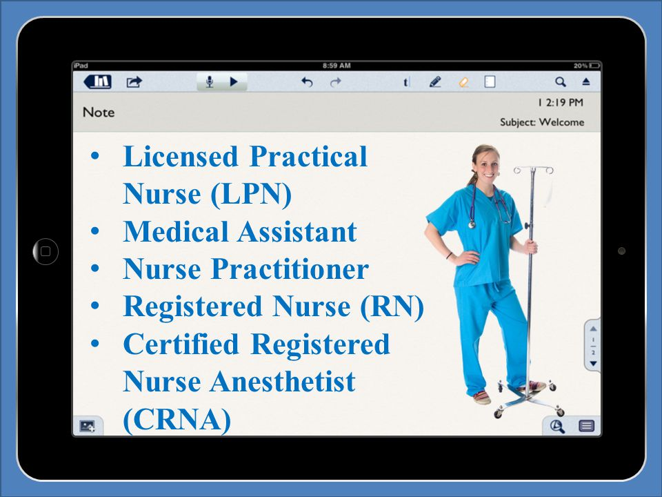Licensed Practical Nurse (LPN) Medical Assistant Nurse Practitioner Registered Nurse (RN) Certified Registered Nurse Anesthetist (CRNA)