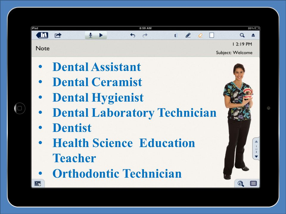 Dental Assistant Dental Ceramist Dental Hygienist Dental Laboratory Technician Dentist Health Science Education Teacher Orthodontic Technician