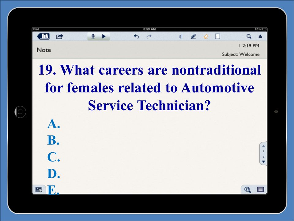 19. What careers are nontraditional for females related to Automotive Service Technician.