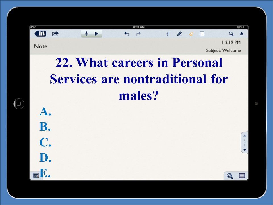 22. What careers in Personal Services are nontraditional for males A. B. C. D. E.