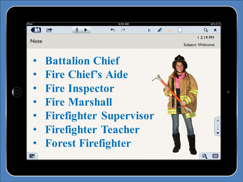 Battalion Chief Fire Chief's Aide Fire Inspector Fire Marshall Firefighter Supervisor Firefighter Teacher Forest Firefighter