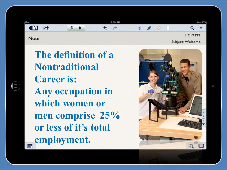 The definition of a Nontraditional Career is: Any occupation in which women or men comprise 25% or less of it's total employment.